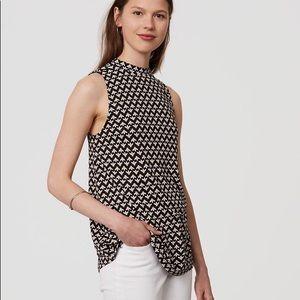 LOFT mockneck tunic top in bud print